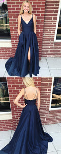 Double Straps Navy Blue Long Prom Dress with Side Slit, F0684