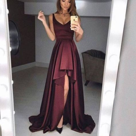 Simple long prom dresses, v-neck long prom dresses,burgundy long prom dresses,high-low long prom dresses, F0687