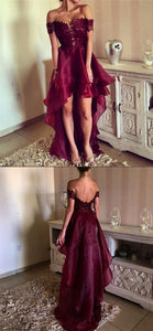 Fashion Off-The-Shoulder Backless Burgundy Organza High Low Prom Dress With Lace , F0688