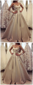 Generous long sleeve ball gown champagne prom dresses, luxury lace wedding dress, F0689