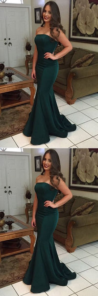 Green Mermaid Strapless Backless Simple Cheap Long Prom Dresses , F0690