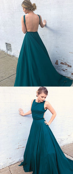 Elegant Turquoise Long Prom Dress with Open Back, F0695