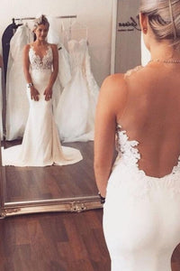 Cheap Comfortable Wedding Dress Mermaid, White Wedding Dress, Appliques Wedding Dress, Open Back Wedding Dress, F0700