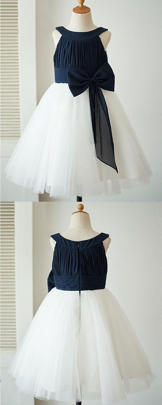 A-Line Crew Knee-Length Navy Blue Sleeveless Tulle Flower Girl Dress with Bowknot, F0711