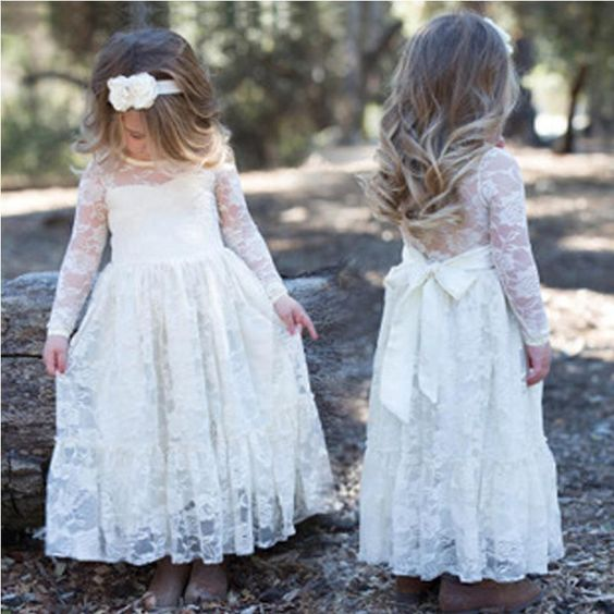 Long Sleeve See Through Cute Ivory Lace Flower Girl Dresses, Junior Bridesmaid Dresses, F0712