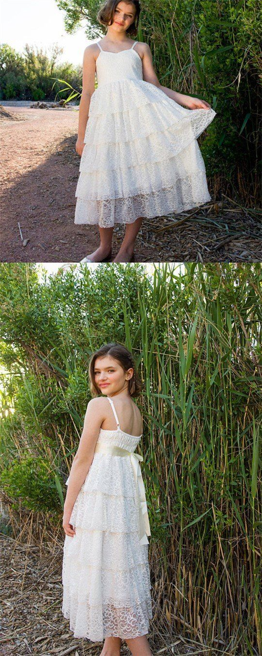 White Lace Junior Bridesmaid Dresses, F0713