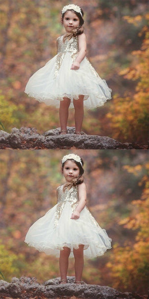 Ivory Tulle & Gold Sequin Flower Girl Dresses,Cheap Flower Girl Dresses, F0714