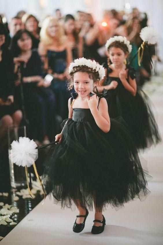 Thin Straps Tulle Baby Little Black Dresses Flower Girl Dress, F0719