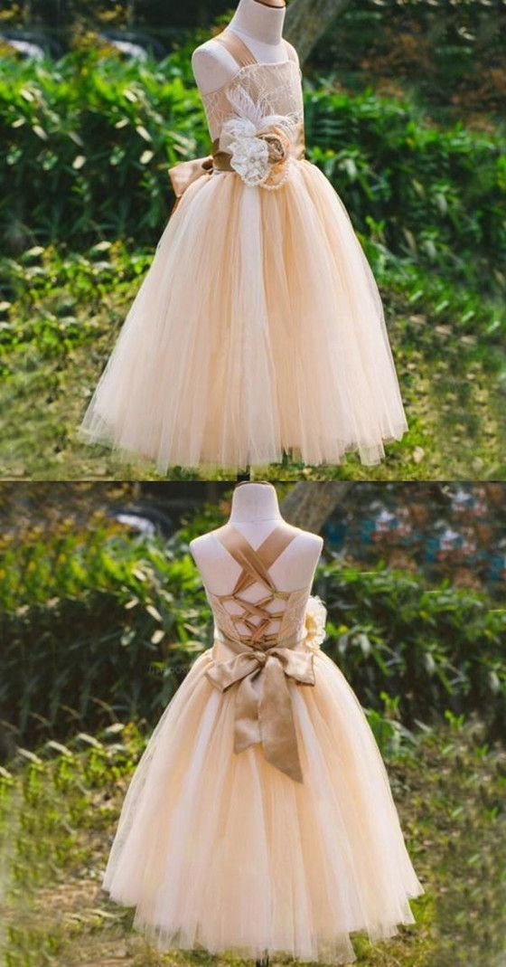 Lovely Lace Sleeveless Lace Up Back Lace Flower Girl Dresses With Handmade Flower Sash, F0720