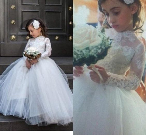 Princess 2019 Little Flower Girl Wedding Dresses With Sheer Lace Long Sleeves High Neck Pageant Gowns White First Communion Dress Flower Girl Wedding Dresses Flower girl dresses , F0724