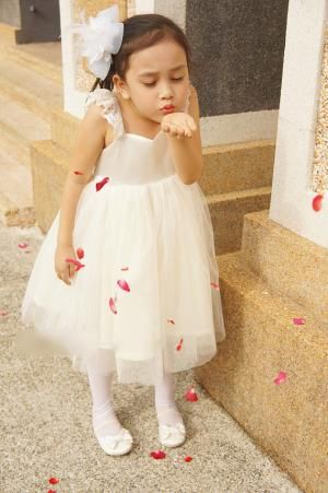Sweet Empire Waist Tea Length A-line Flower Girl Dress with Lace Straps, F0725