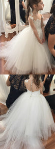 Ball Gown Round Neck Sweep Train White Tulle Flower Girl Dress with Lace, F0727
