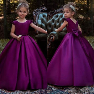Adorable 2019 Flower Girl Dresses Purple With Bow Satin First Communion Dress Toddler Party Gowns Baby Child Birthday Gowns Floor Length, F0728