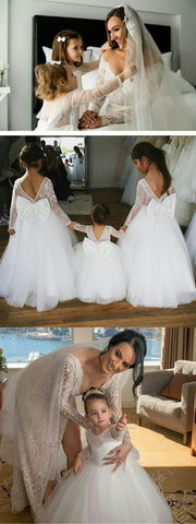 Lovely Dark Navy Tulle Backless Flower Girl Dresses With Long Lace Sleeves, F0729