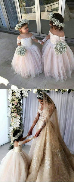 Princess Ball Gown Tulle Flower Girl Dresses With Long Sleeves 2018, F0731