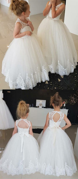 Ball Gown Round Neck Open Back Flower Girl Dress with Lace, F0732