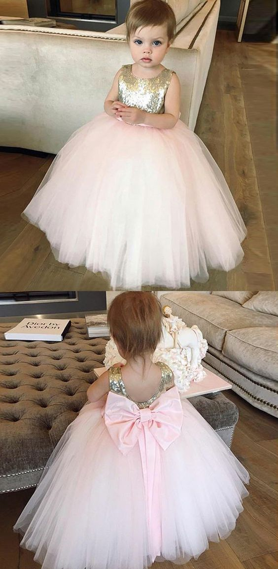 Ball Gown Bateau Pink Tulle Flower Girl Dress with Bowknot Sequins, F0733