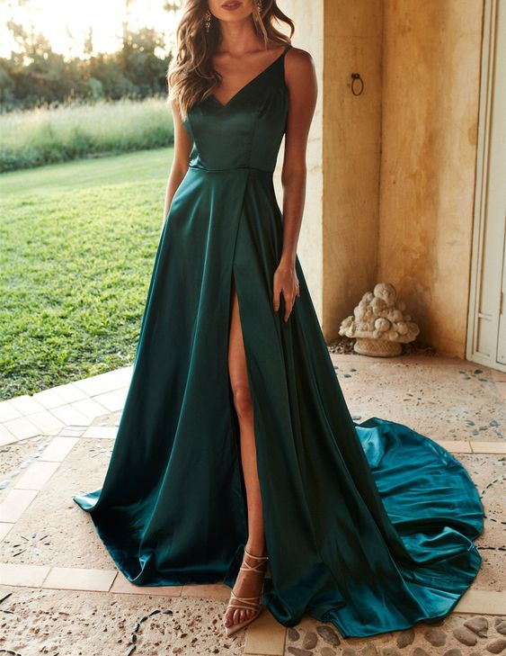 Chic Dark Green Long Prom Dress,Spaghetti Straps V-Neck Prom Evening Dress with Side Split, F0734