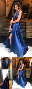 elegant royal blue satin prom dress with split, fashion v-neck royal blur party dress,Cheap Prom Dress, F0735