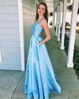 Princess Blue/Lilac V-Neck Prom Dress,Long Ball Gowns With Pockets,Pretty Party Dress, F0736