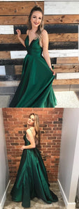 A-Line Spaghetti Straps Dark Green Satin Prom Dress with Pockets, F0737