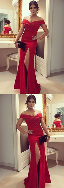 Satin V-neck Mermaid Prom Dress Off The Shoulder Evening Gowns, F0744