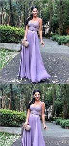 Spaghetti Straps Purple Lace Long Prom Dresses,Cheap Prom Dresses, F0745