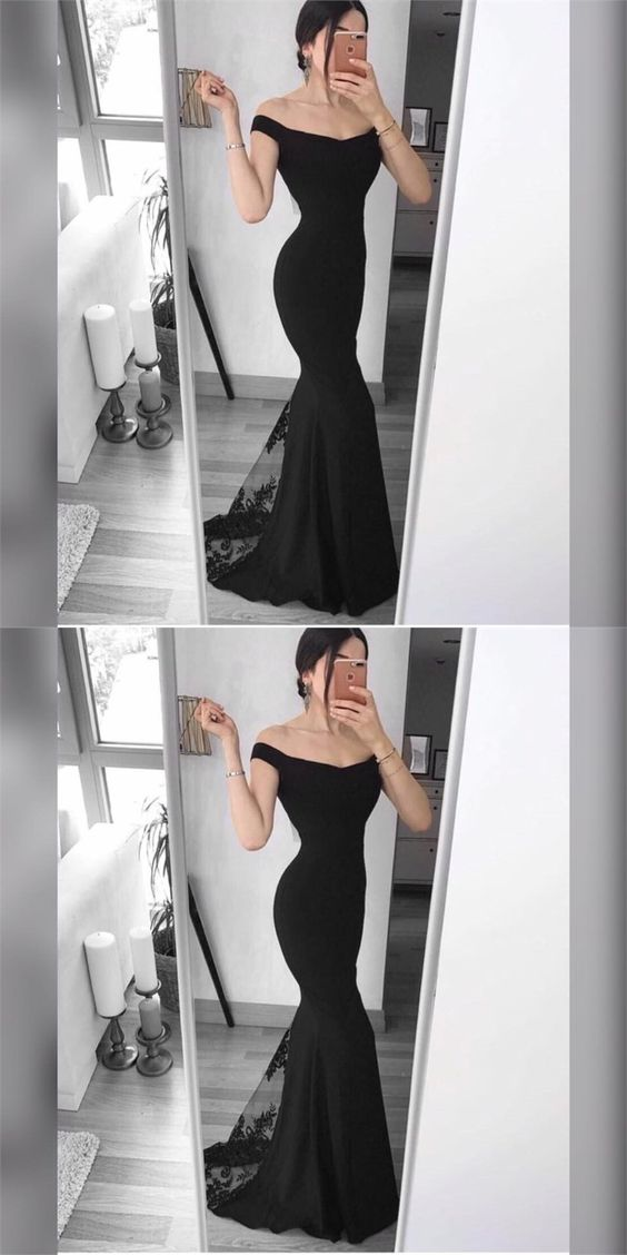 Black Satin Off The Shoulder Prom Dresses,Long Mermaid Evening Dresses,Sexy Formal Gowns,Party Graduation Dress For Women, F0746