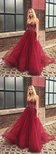 Burgundy v neck tulle long prom dress, burgundy evening dress, F0748