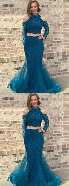 Two pieces high neck long prom dresses with sleeve lace evening gowns, F0749