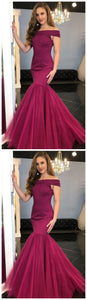 Off-the-Shoulder Prom Dress,Stain Prom Dress,Mermaid Prom Dress,Floor-Length Grape Prom Dress With Beading, Modest Off The Shoulder Grape Mermaid Prom Dress, F0750