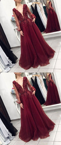 Burgundy v neck lace tulle long prom dress, burgundy evening dress, F0753