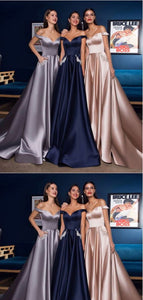 Off-the-Shoulder V-neck Sarin Long Evening Prom Dresses,Cheap Prom Dresses, F0756