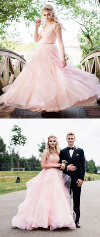 Pink v neck tulle long prom dress, pink tulle evening dress , F0759