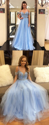 Blue Prom Dresses, Long Prom Dresses, A-line Prom Dresses V-neck, 2018 Prom Dresses Chiffon, Modest Prom Dresses For Teens Sequins, F0760