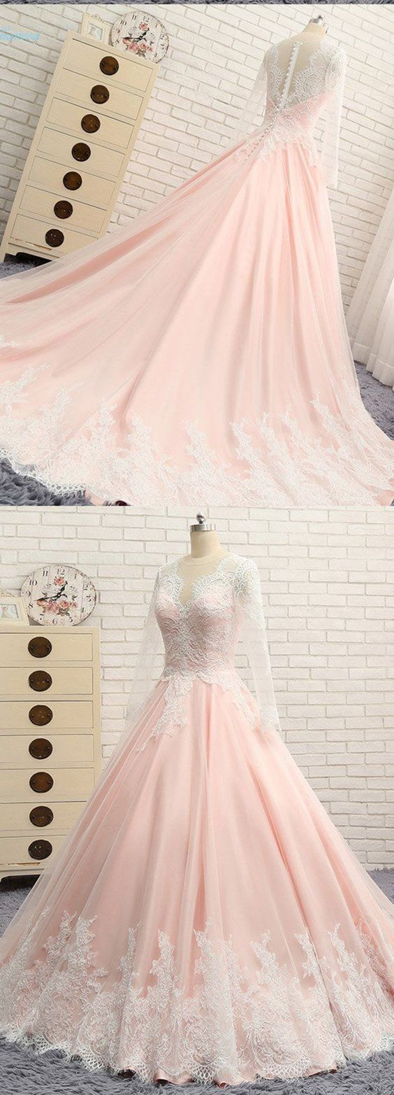 Quinceanera Dress,Sweet 16 Dresses,Blush Pink Chiffon Long Lace A-line Senior Prom Dress With Sleeves, F0761