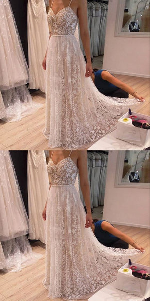 A-Line Spaghetti Straps Light Champagne Beaded Prom Dress with Lace Appliques, F0762