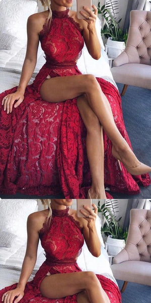 A-line High Neck Red Lace Prom Dress ,Cheap Prom Dresses, F0763
