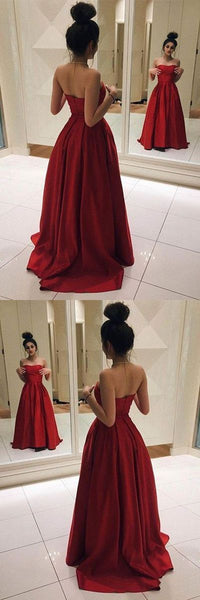 Red Long Prom Dresses, Elegant Red Satin Prom, F0765