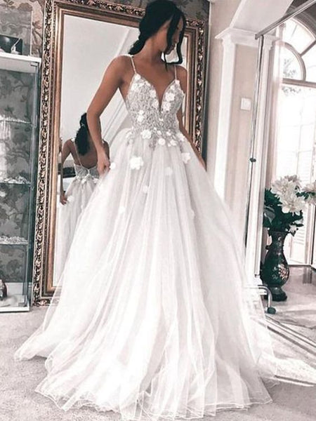 Elegant A Line V Neck Spaghetti Straps White Tulle Wedding Dress with Applique, F0768