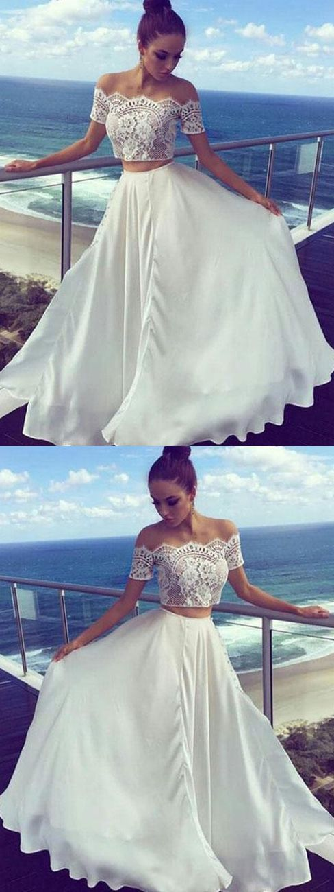 White Two Piece Prom Dresses, Off-the-shoulder Prom Dress ,A-line Prom Dress, Lace Prom Dress, Evening Dress, F0769