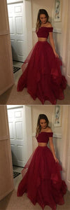 Red Two Pieces Tulle Off Shoulder Prom Dresses Cheap, Long Party Gowns, F0771