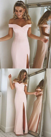 Off the shoulder pink mermaid long prom dress with side slit, formal evening, F0773
