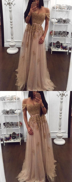 Gold Lace Beaded Sweetheart Tulle Prom Dresses Off-the-shoulder Evening Gowns 2019 Elegant, F0774