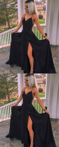 Spaghetti Straps A-Line, Floor-Length Black Prom Dress with Split, F0775