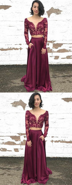 Maroon Two Pieces Long Sleeves Lace Evening Prom Dresses, Cheap Sweet 16 Dresses, F0779