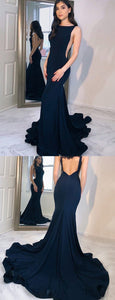 New Arrival Navy Blue Mermaid Backless Jersey Sleeveless Prom Dress, F0780