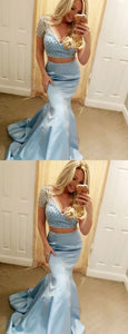 Pale Blue Two Piece Beading Mermaid Prom Dresses , F0781