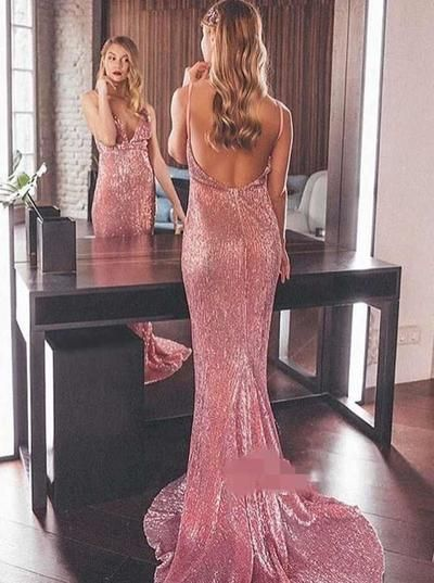 Sexy Deep V Neck Prom Dresses Sleeveless Sequined Sexy Backless Sweep Train Mermaid Prom Gowns, F0782