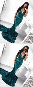 Deep V-neck Sexy Prom Dresses, Mermaid Prom Dresses, Shiny Prom Dresses, Prom Dresses, F0788